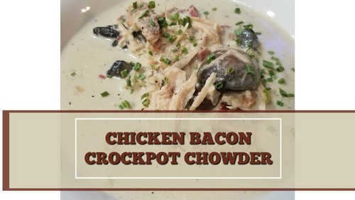 Chicke and bacon slow cooker chowder on a white plate